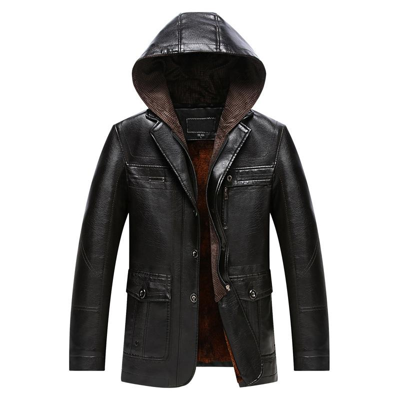 2017 New Slim Thick Hooded Winter Leather Jacket Men High Quality Velet Lining Jacket Long Cuero Hombre