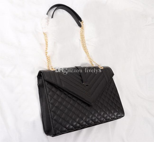 Heißer verkauf 30 cm handtaschen kaviar v typ solide plain diamant gitter klappe mode lässig frauen marke designer messenger umhängetaschen kette beutel