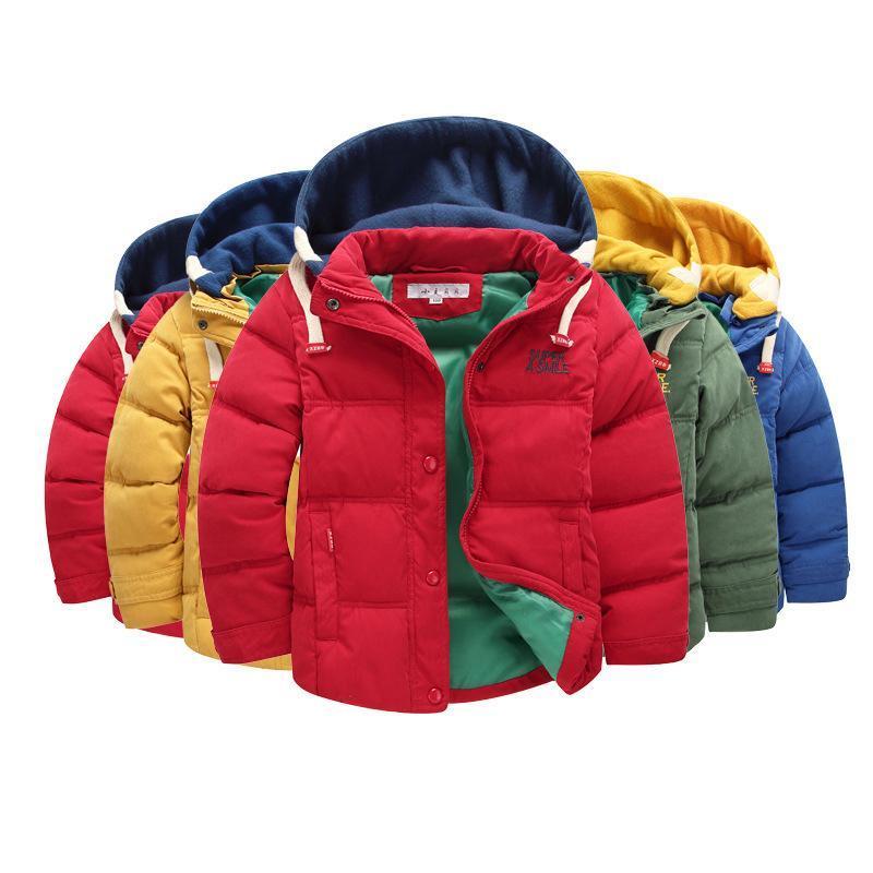Los niños de la chaqueta caliente 6-14T de invierno para niños Ropa de abrigo casual Niños chaqueta con capucha caliente para los muchachos muchachos de la ropa a prueba de agua de capas calientes