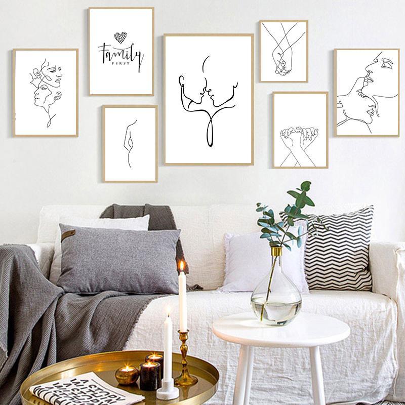 Arte moderna abstrata Imagem Home Decor Nordic pintura da lona Figura Linha arte da parede cartazes e cópias do desenho por Sala de Estar