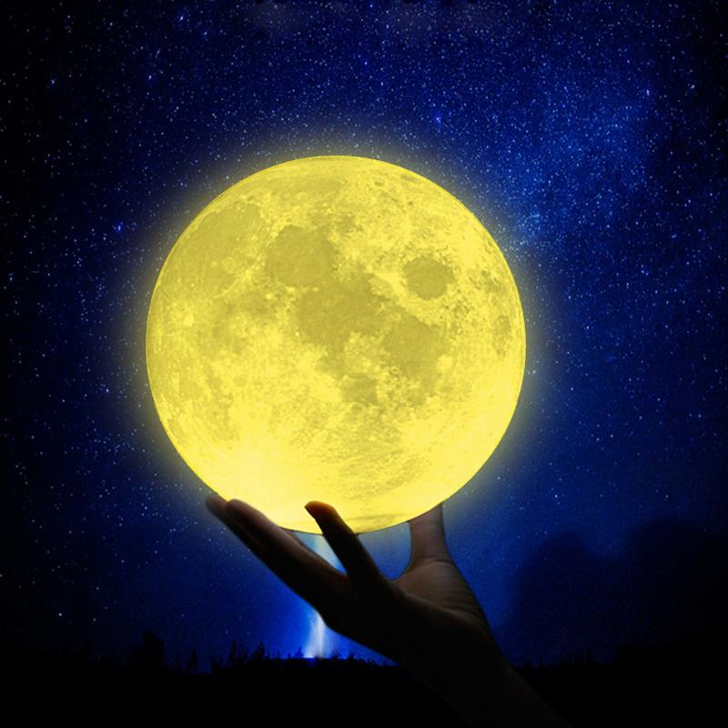 Rechargeable Night Light 3D Print Moon Lamp 3 Color Change Touch Switch Bedroom Bookcase Nightlight Home Decor Creative Gift