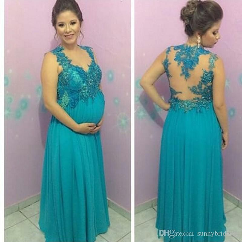 Elegant Style Maternity Evening Dresses for Pregnant V Neck Appliques Chiffon Floor Length Women Party Gowns Custom Size