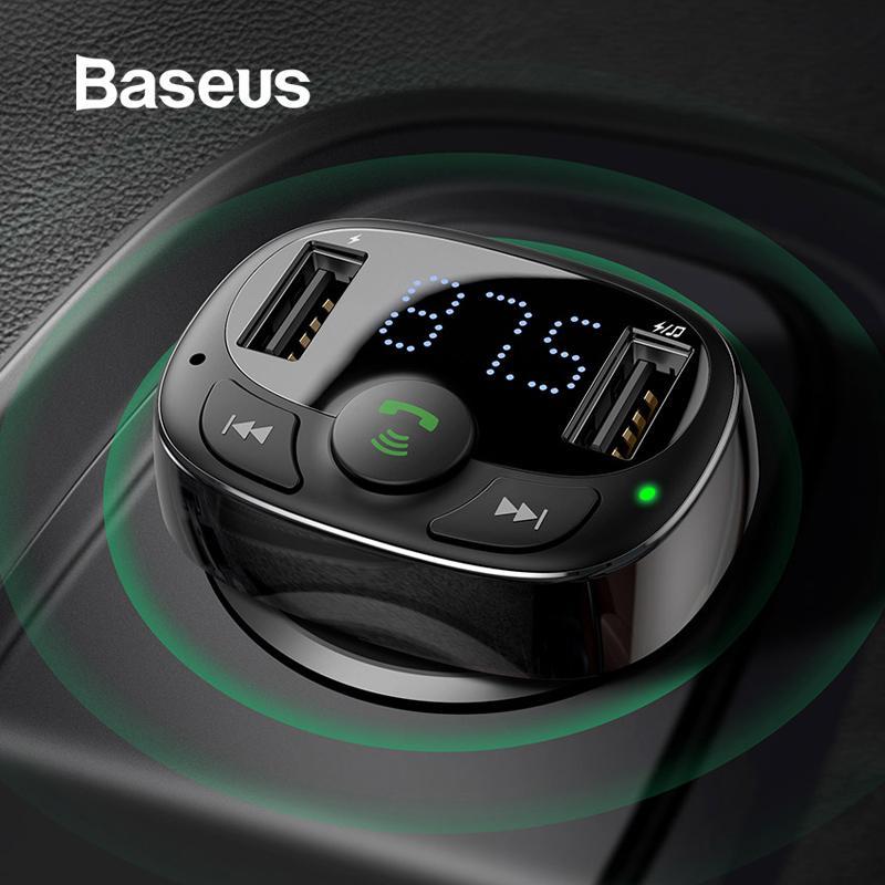 Carregador de carro Baseus Dual USB com transmissor de FM Bluetooth Handsfree modulador FM carregador do telefone no carro para iPhone Xiaomi HUAWEI