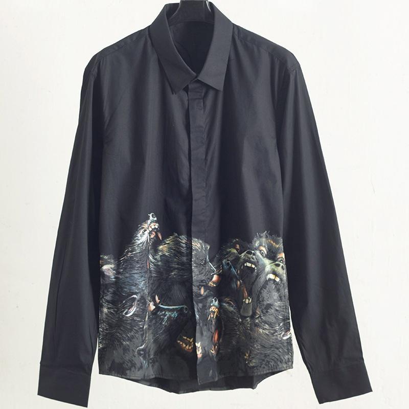 أزياء الرجال المصمم قمصان كم طويل الكلب الأسود رئيس طبع قمصان الربيع الخريف لون الصلبة رجال جودة عالية قمصان تي شيرت