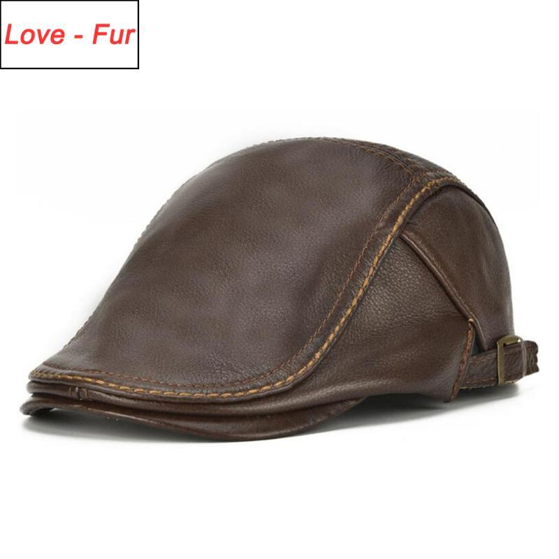 2020 Autumn Winter Men Real Genuine Leather Baseball Cap Casual Warm Cow Leather Hat Real Cowhide Baseball Caps