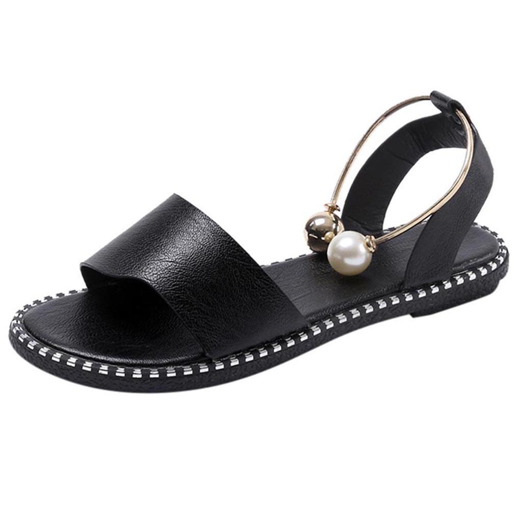 CHAMSGEND 2019 Nouvelle été tête ronde plat perle couleur unie femmes casual filet rouge orteil fuite sauvage sandales plates en plein air