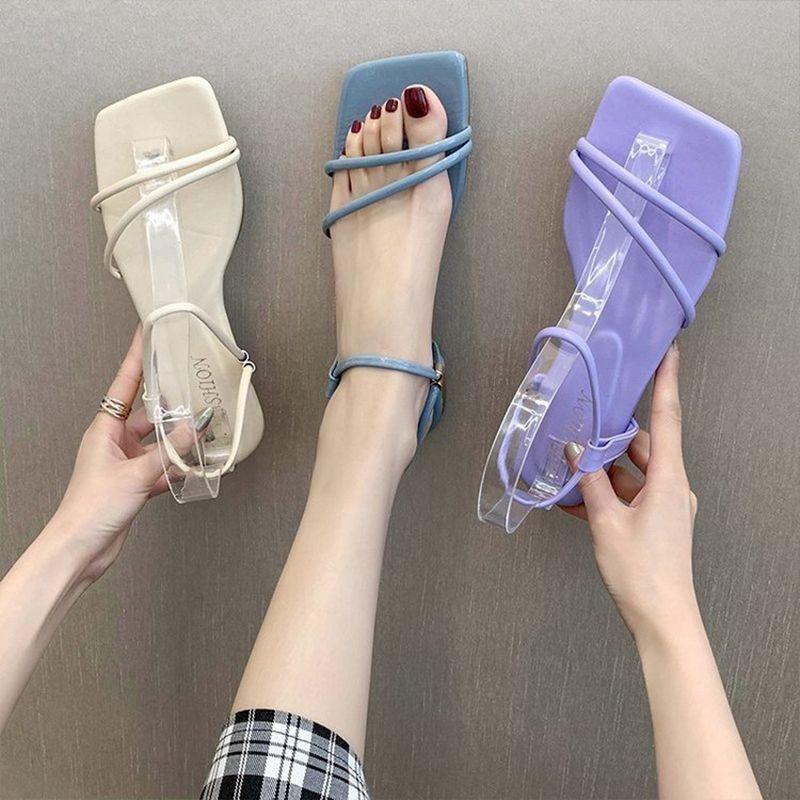 Nova Moda Sandals Mulheres Low Heel Lace Up sandália Voltar Strap Verão Calçados Gladiador Casual Sandália de banda estreita Zapatos Mujer Shoe