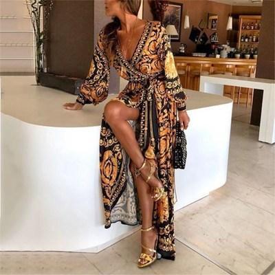 Quente novo vestido estampado com decote em V terno das mulheres estilo retro e grande saia longa bifurcada estilo boêmio vestidos de manga longa
