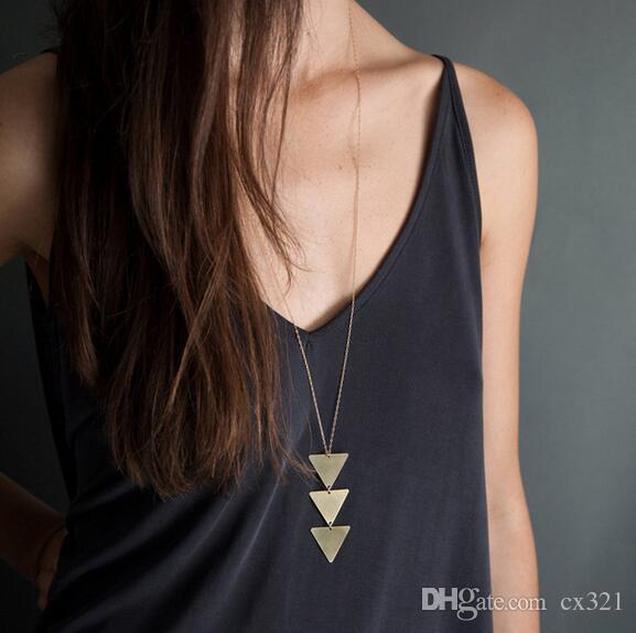 2019 NEW pendant Necklace triangle Long Chain Women choker Necklace Chocker collana Bijoux Collier Femme Joyas mujer ras du cou