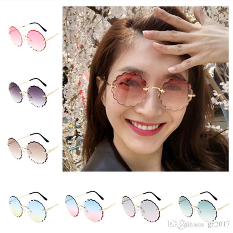 Moda donna senza montature occhiali da sole fiori occhiali da sole occhiali da sole occhiali anti-uv occhiali gradiente colore occhiali da vista adumbrale occhiali da sole A ++ xoojl