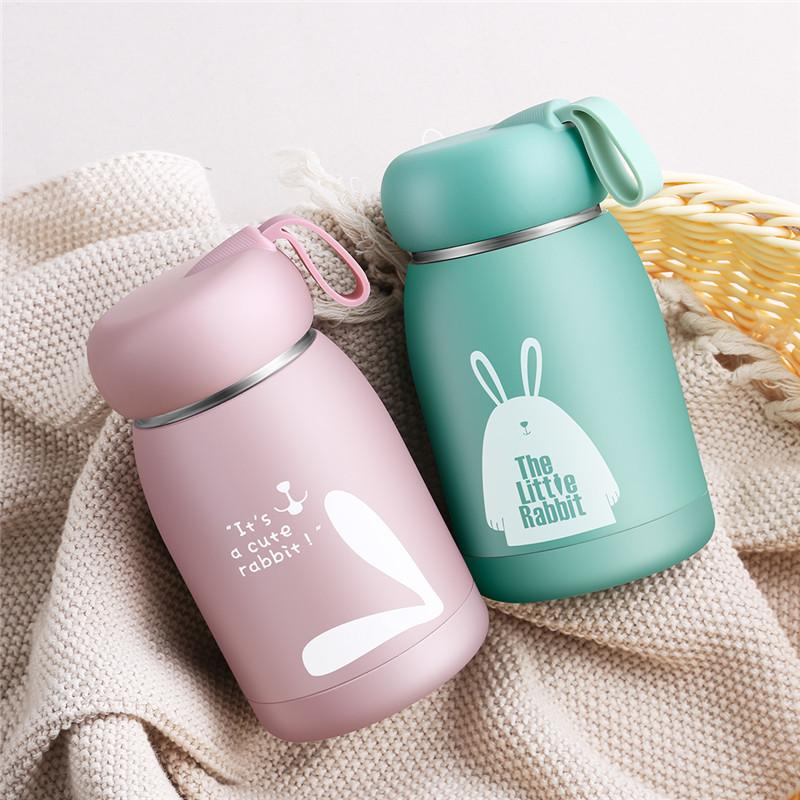 Kids Baby Feeding Bottle Cute Cartoon Print Thermos Cup 304 Stainless Steel Keep Water Hot Suitable For Kids Children School Use Y200330