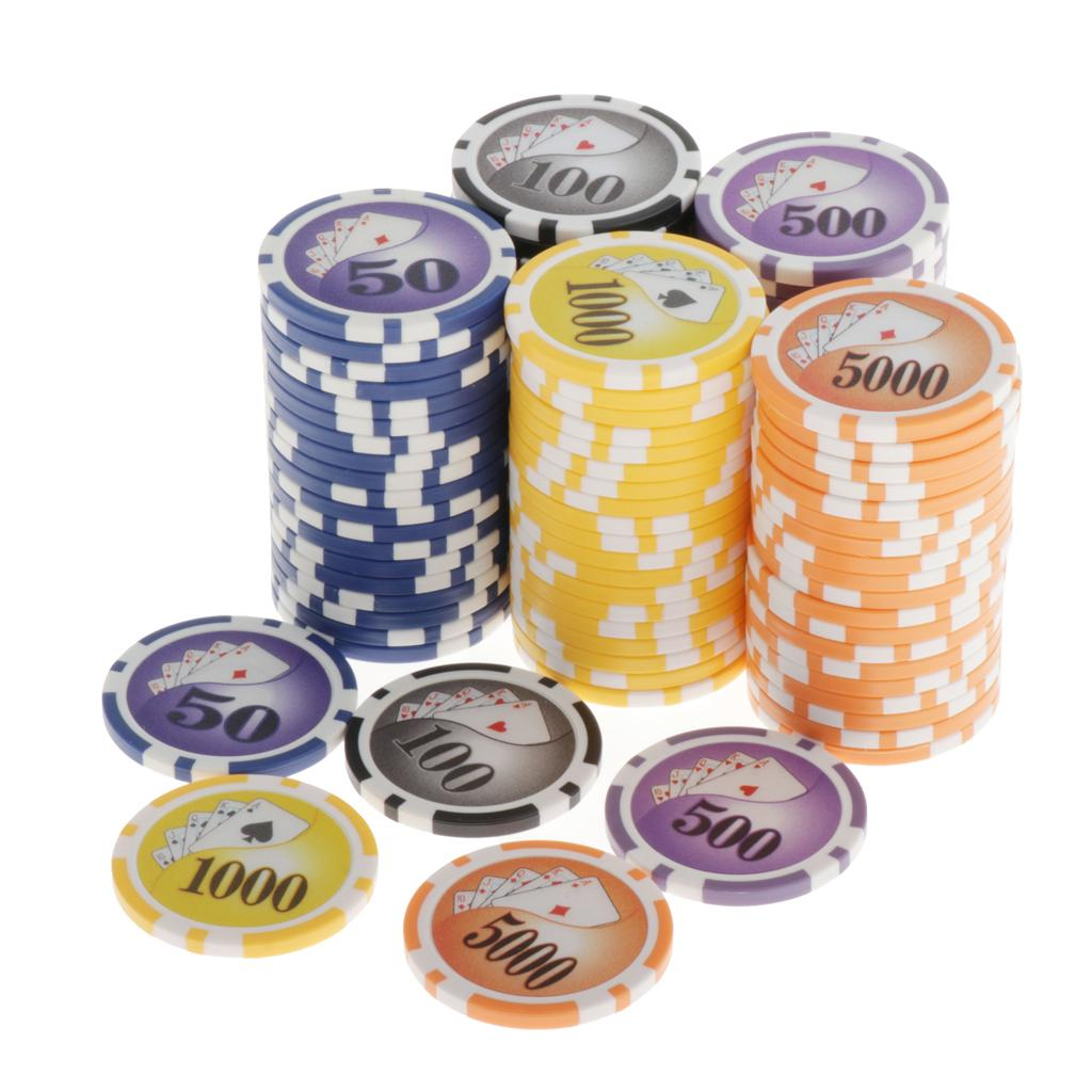 Pack of 100 Striped Poker Chips Set 13.5 Gram Casino Cards Game Token 4cm