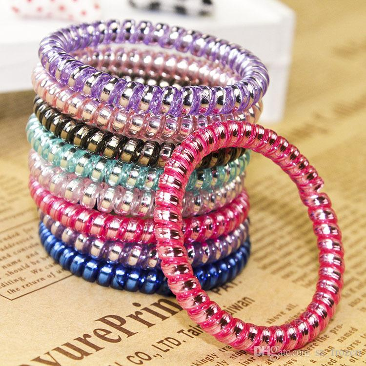 High Quality Telephone Wire Cord Gum Hair Tie Girls Elastic Hair Band Ring Rope Candy Color Bracelet Stretchy Scrunchy Mixed color A-782