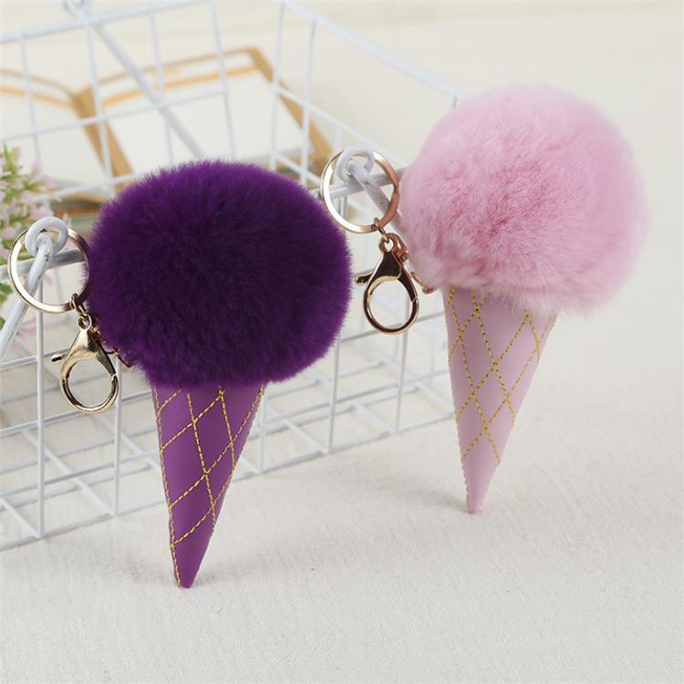12 color Ice Cream Pompom Ball keychain PU Carabiner Key Chain keyring Women Kids Key Holder Bag pendant key Ring Favor Wholesale KJJ194