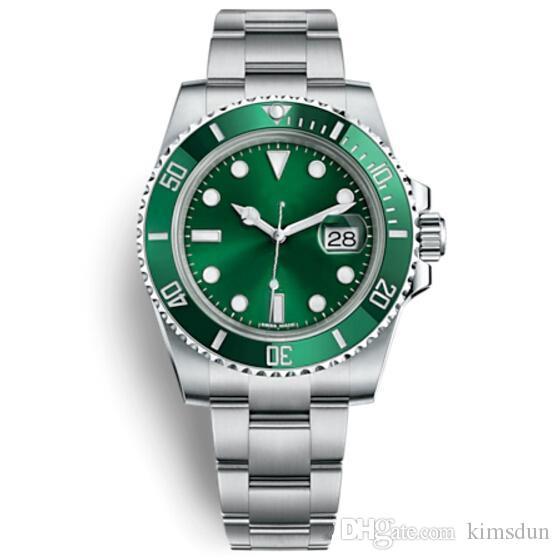 1 Kol Saati Kayışı Toka Kayışı Mens Yeni Otomatik İzle Yeşil Saatler 116610LV Reloj Hombre Automatico Saatler Orologi da Uom