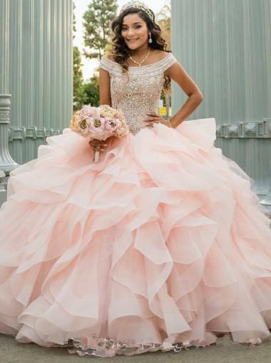 겸손한 요정 오프 - 더 - 어깨 구슬 볼 가운 프릴 핫 세일 민소매 이브닝 드레스와 분홍색 얇은 명주 그물 성인식 댄스 파티 드레스