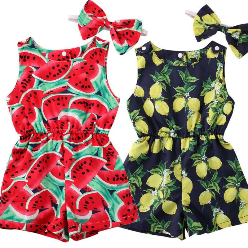 Newborn infante ragazza del neonato senza maniche pagliaccetti le fasce tuta Clothes Outfit Anguria Limone Stampa pagliaccetti 1-6year