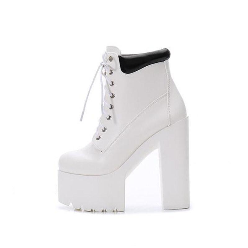 Lace Up Platform Boots White Boots 14cm
