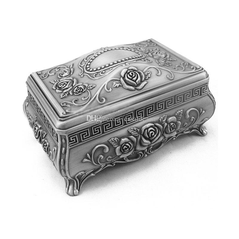 Dei monili dell'annata Metal Box intagliato modello della Rosa con serratura Lega Colore argento antico principessa Trinket favori di nozze