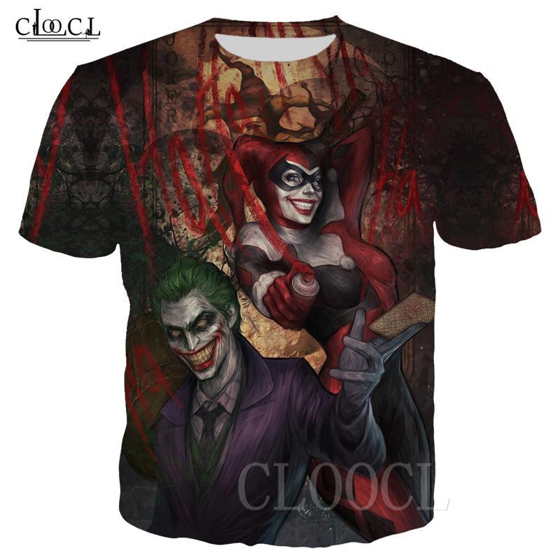 Prey tişört Unisex Joker Harley Quinn 3D Kuşlar Streetwear Tee S-5XL Tops Palyaço Yaratıcı Tişörtlü Erkekler Kısa Kol Çiftler yazdır