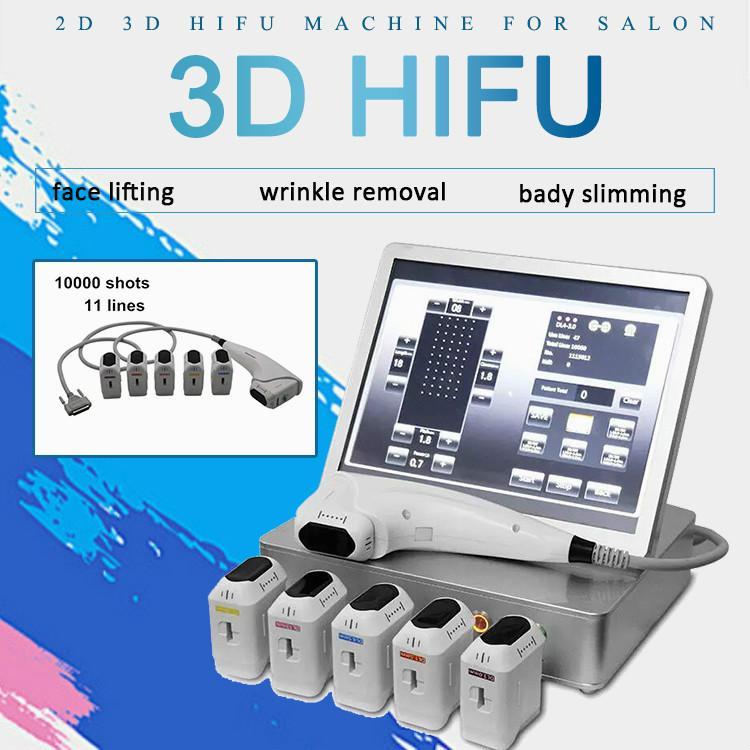 2020 Datum 10000 Torschüsse 8 Hifu Patronen Hifu Haut Lifting Body Shaping Ultraschallmesser 11 Linien 3D Hifu Schönheit Maschine
