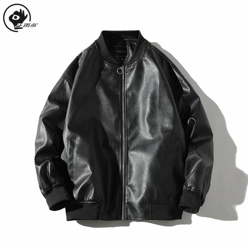 رجل يرتدي سترة جلدية يرتدي سترة قاذفة البايسبول Pu Coat Pilot Printed Slim Fit Motcoy Mens Leather Jet Black Jacket