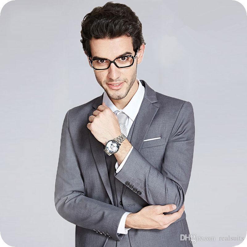 Gri Iş Erkek Düğün için Bir Düğme Damat Smokin İyi Adam Suits Blazer Adam Ceket Slim Fit Terno Masculino Kostüm Homme Mariage 3 Adet