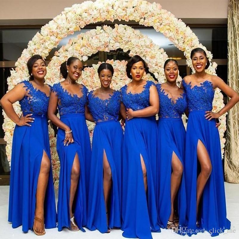 Royal Blue Plus Size Bridesmaid Dresses With Scoop Neck Lace Appliques Front Split Bridal Gowns Chiffon Cheap Maid Of The Honor Bridesmaid Dresses Sale Bridesmaid Maxi Dresses From Click Me 70 1 Dhgate Com