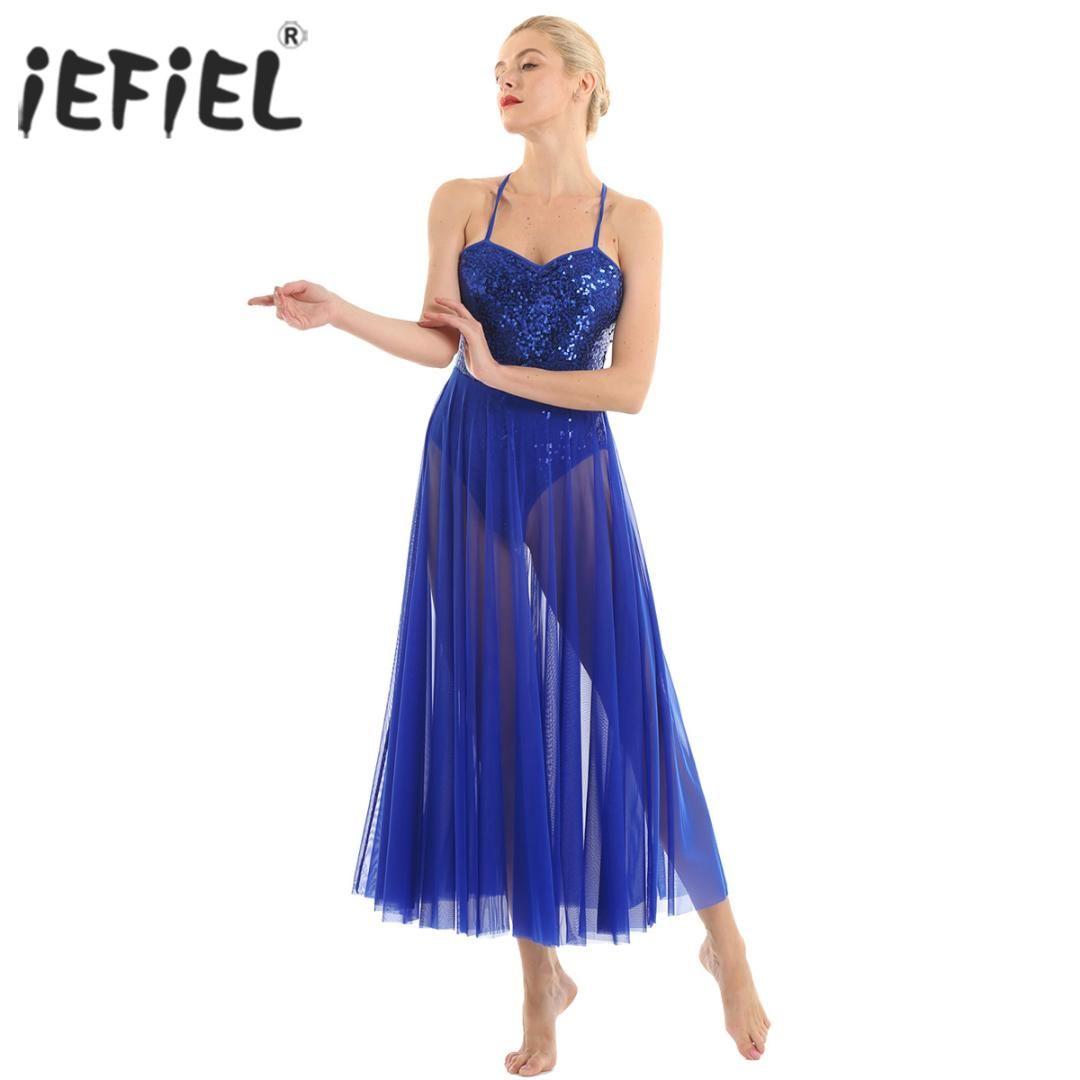 Women Adult Costume Spaghetti Strap Sleeveless Sequined Leotard Bodysuit Dancewear Dress with Split Mesh Maxi Ballet Dance Dress