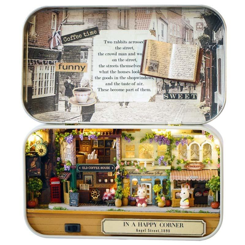 In A Happy Corner 3d Wooden Diy Handmade Theatre Dollhouse Miniature Box Cute Mini Doll House Assemble Kits Gift Toys Q190611