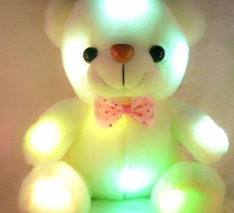 Coloré LED Flash Light Bear Poupée En Peluche Animaux Peluches Jouets Taille 20cm Ours Cadeau Pour Enfants Cadeau Peluche En Peluche jouet