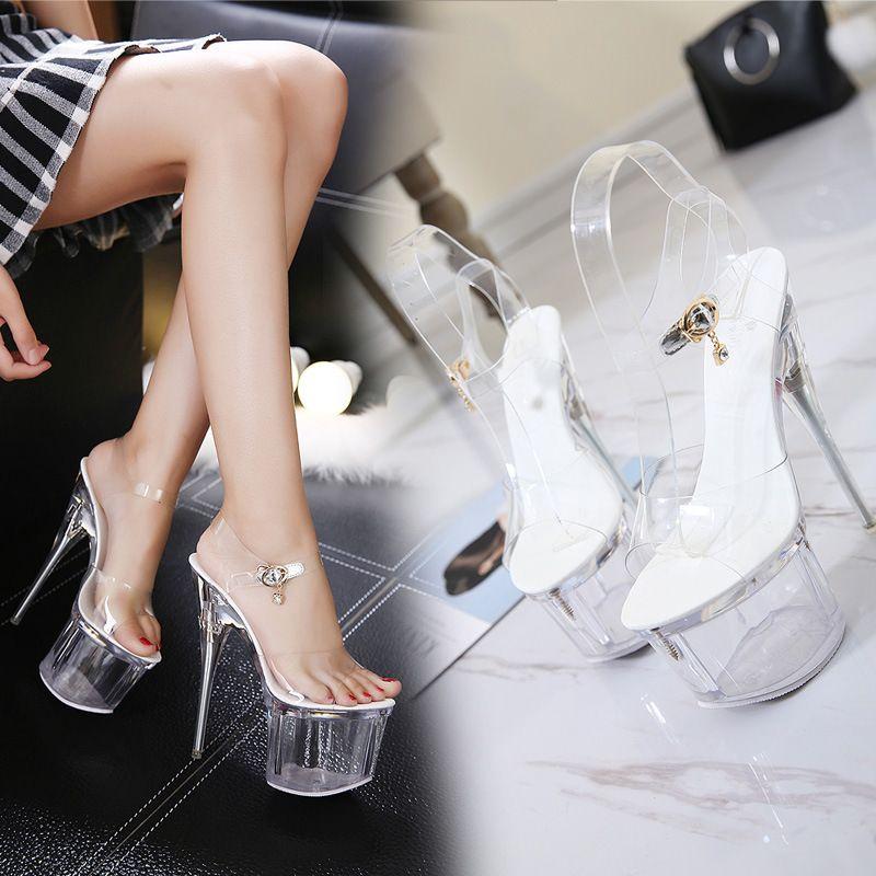 Hot2019 Piattaforma di cristallo impermeabile Luminescence fibbia Portare Belle con la grazia Sexy Odio sandali Giorno Alta signora