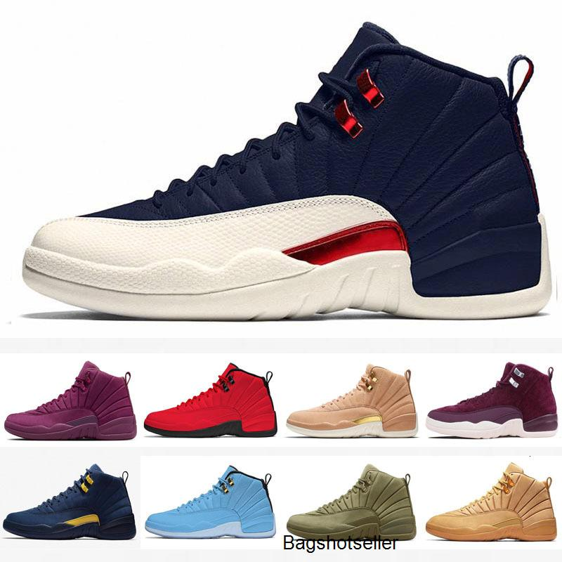 Pas cher Jumpman 12 12s FIBA CNY Bumblebee Chaussures Enfants Basketball Jeu inverse Taxi Royal Blue Gym Red Wings hommes gris formatrices d'sport
