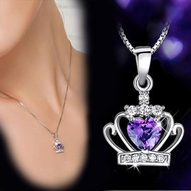 Kadın Kore Taç kolye Kolye Kraliçe Prenses Mor beyaz kristal elmas Kadın Kızlar Için Charm Gümüş zincir Moda Takı