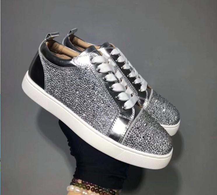 Designer scarpe da ginnastica rosse fondo piatto Spikes Velours Suede Sneakers grigio ferro uomini formatori 100% vera pelle scarpe partito mn189607 CS07