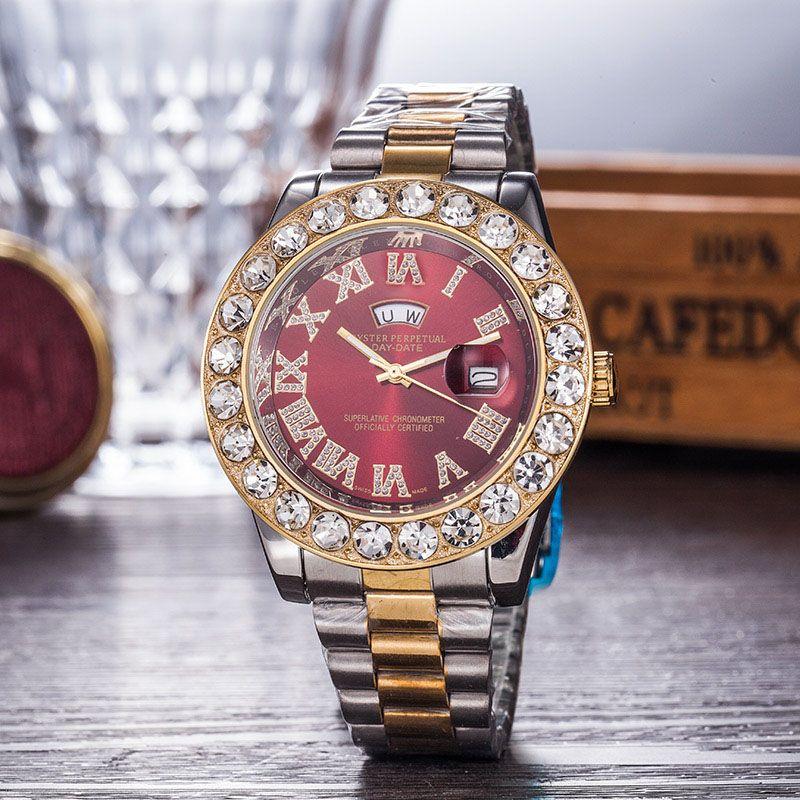 새로운 골드 럭셔리 남자 자동 석영 시계 석류 시계 망 브랜드 시계 로마 대통령 시계 시계 레드 비즈니스 Reloj 빅 다이아몬드 시계 남자
