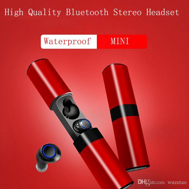 상자 Biaural 분리 디자인 스포츠 음악 헤드셋을 충전 스마트 블루투스 이어폰 Biaural 스테레오 서라운드 사운드 노이즈 제거 방수 HD 통화