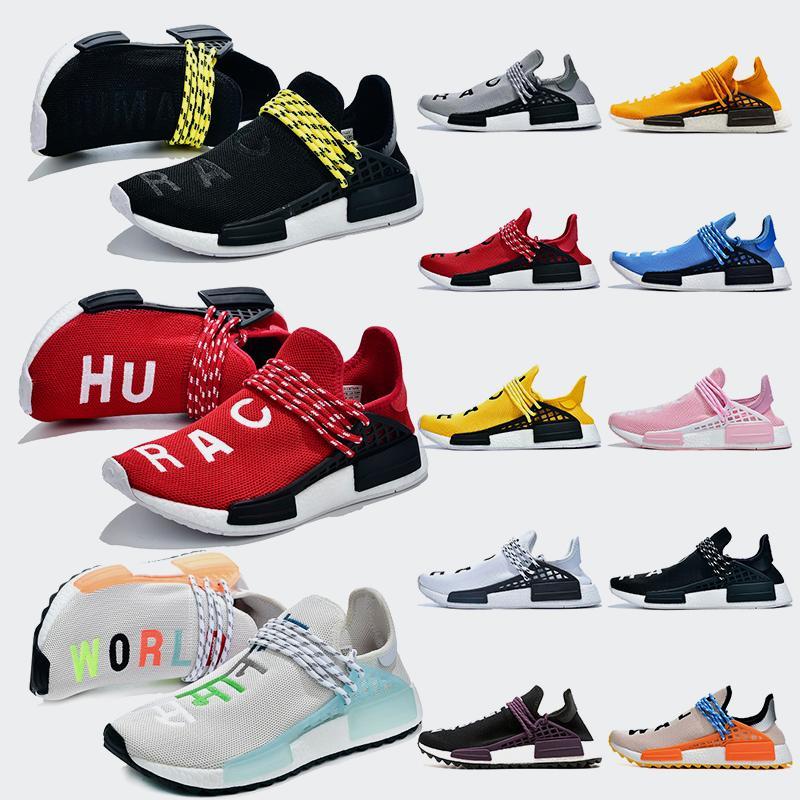Adidas Shoes Moda 2019 Pharrell Williams NMD insan ırkı Sarı Eşitlik Kırmızı Hu yarışı Renkli Siyah İnek Eğitmenler spor ayakkabıları koşu ayakkabıları mens womens
