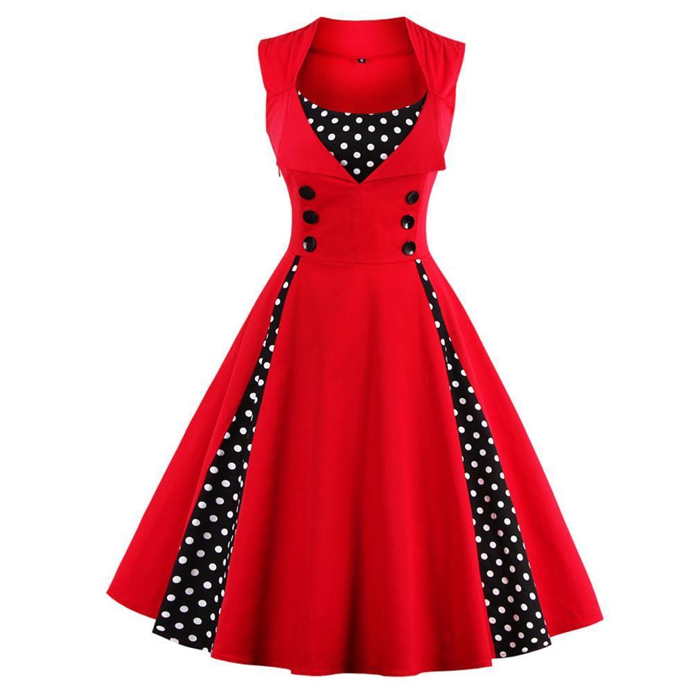 Women 50s 60s Retro Vintage Dress Polka Dot Patchwork Sleeveless Spring Summer Red Dress Rockabilly Swing Party Dress New Loose