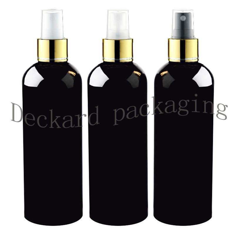 20шт 300мл Fine Spray Plastic черная бутылка 10 OZ макияж спрей золотой воротник контейнер, Empty Флаконы для духов Косметические упаковки