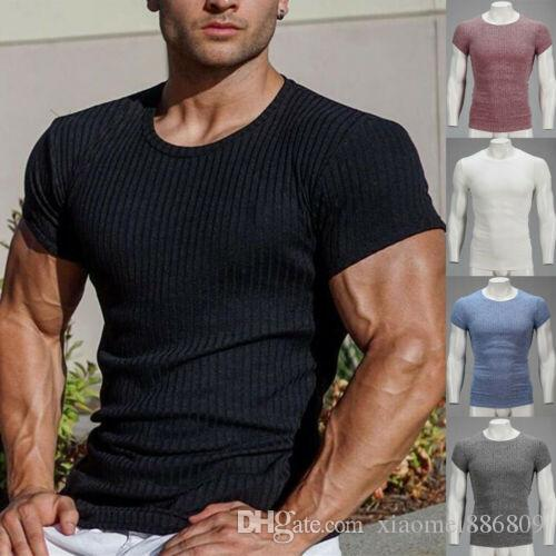 Gym Men Muscle Fitness Cotton Fit Tee Workout T-Shirt Athletic Clothes