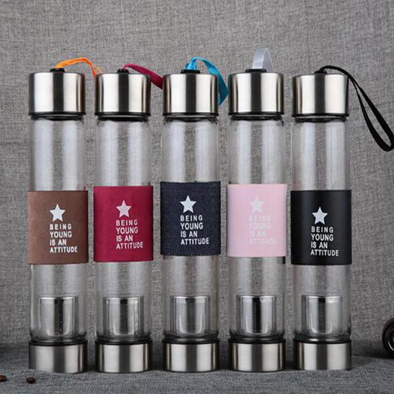 20pcs / lot 450ML Type d'entreprise Bouteille en verre Bouteille en acier inoxydable avec thé infuseur filtre en verre Sport Eau Tumbler