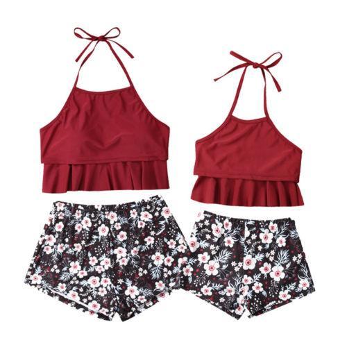 2019 Familiares Matching das Mulheres Criança Bebê meninas Strappy Bikini Biquini floral Shorts Set Terno Swimwear Swimsuit Beachwear