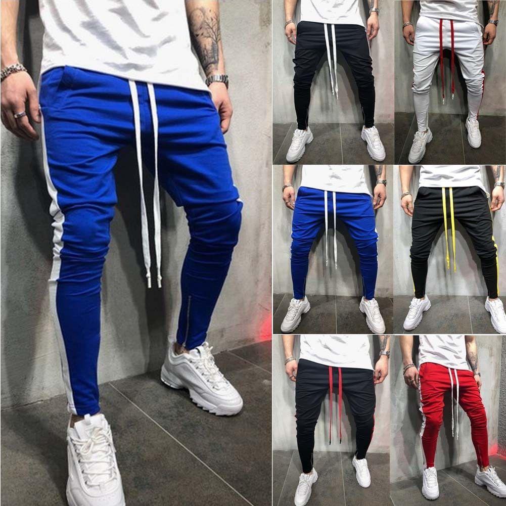 Mens Striped Print Pant Sport Trousers Slim Fit Tracksuit Skinny Jogging Joggers