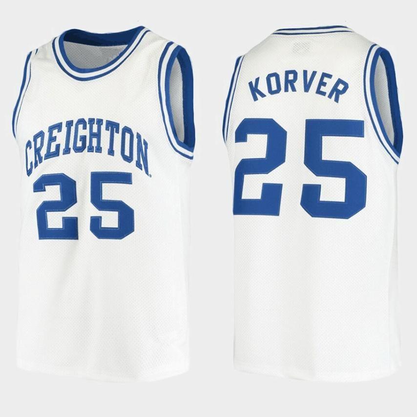 Creighton BlueJays College Kyle Korver # 25 Weiße Retro Basketball Jersey Männer genähte benutzerdefinierte Nummernname Trikots