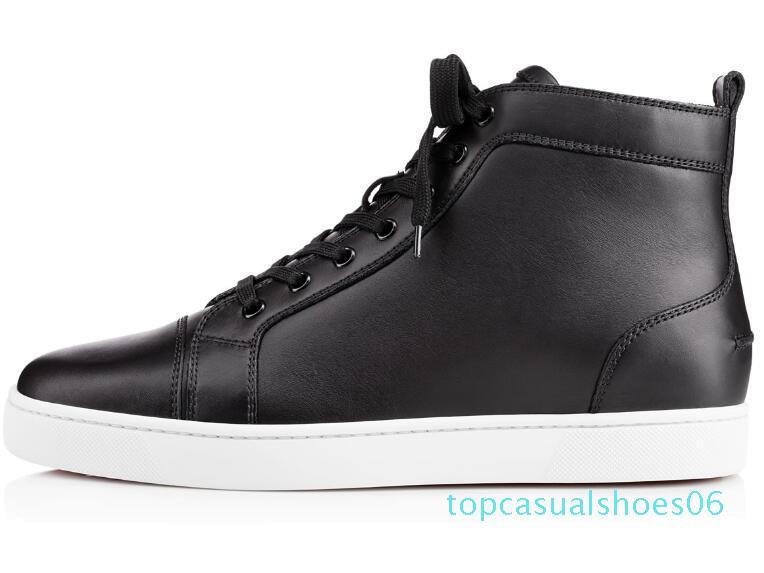 Klasik Yüksek üst Tasarımcı eğlence büyük BOYUT 35-47 olur t06 womens erkekler Lüks siyah deri moda rahat Açık erkekler için alt spor ayakkabıları kırmızı