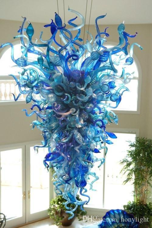 Modern Chandelier LED Fatto a mano soffiato cristallo lampadario di Murano luce blu del pendente per la decorazione domestica a buon mercato di alta qualità