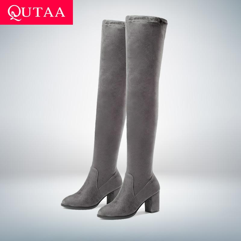 Details about  /Women Boots Suede Slip On Thick Heel Knee High Leg Calf Boots Stretch Shoes