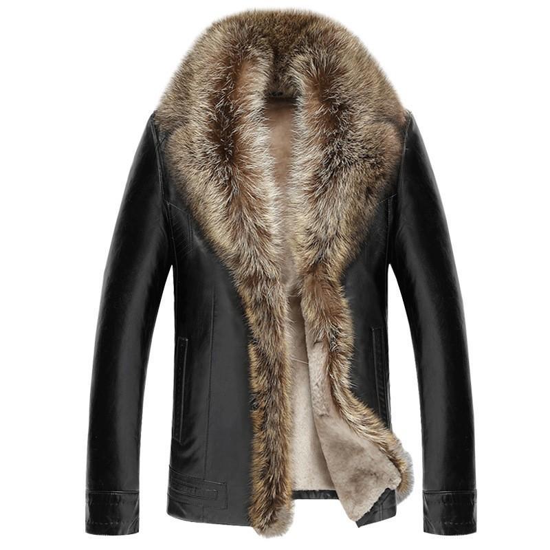 Winter Men Thick Wool Lining Leather Jacket Warm Fur Collar Overcoat Business Man Plus Size 5XL Coat Slim Fit Moto Biker Jackets
