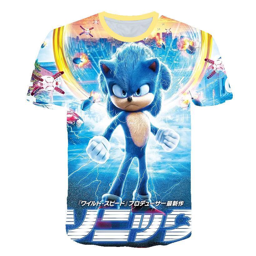 2020-Sommer-neuer Entwurf T-Shirt Männer / Frauen-Karikatur Sonic the Hedgehog 3D bedruckte T-Shirts beiläufige Harajuku Stil T-Shirt Street Tops # 9545AC